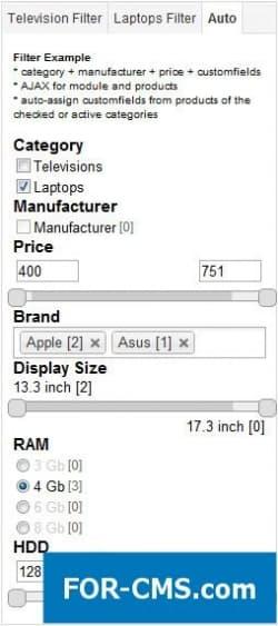 Multiple Customfields Filter for Virtuemart - фильтр для vm2 и vm3