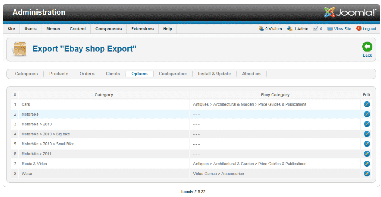 JoomShopping - Export in Ebay